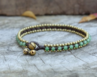 Jade Bead Brass Anklet