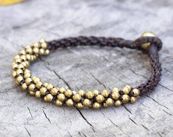Brass Bead Woven Hip Bracelet/Anklet