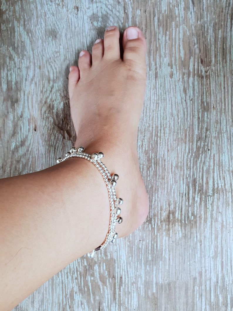 Double Brass Bell Chains Women Anklet or Bracelet,Gifts For Her For Kids