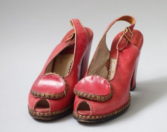 Studs red heels   1940's by cubevintage   size 6.5us