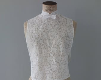 White lace plastron with bow collar  | 1950's by cubevintage | extrasmall to medium