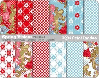 70% OFF SALE! - Spring Visions Paper Pack (12 Sheets) - Personal and Commercial Use - polka dot flowers paisley foral red blue