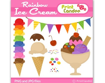 70% OFF SALE! - Rainbow Ice Cream - Digital Clip Art - Personal and Commercial Use - scrapbooking, card making,  cupcake topper