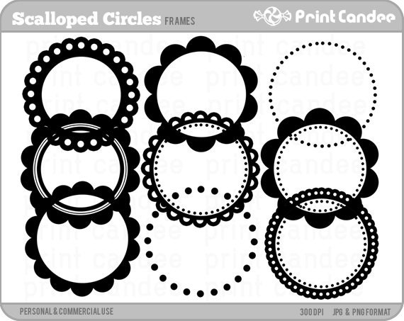 70% OFF SALE Scalloped Circle Frames Personal and