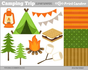 70% OFF SALE! - Camping Trip -  Digital Clip Art - Personal and Commercial Use - camp tent smores s'mores marshmallows fire pine tree