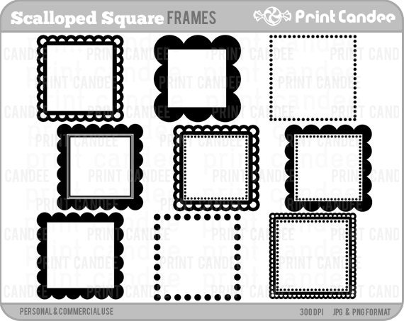 70% OFF SALE Scalloped Square Frames Personal and
