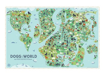 Dogs Of the World Map 36x24 POSTER