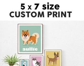 5x7 Custom Pet Print - choose your breed