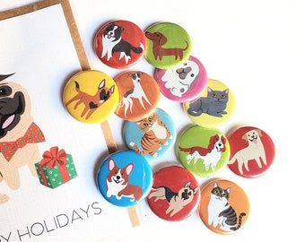 CHOOSE BUTTONS - dogs, cats, bunnies - stocking stuffers