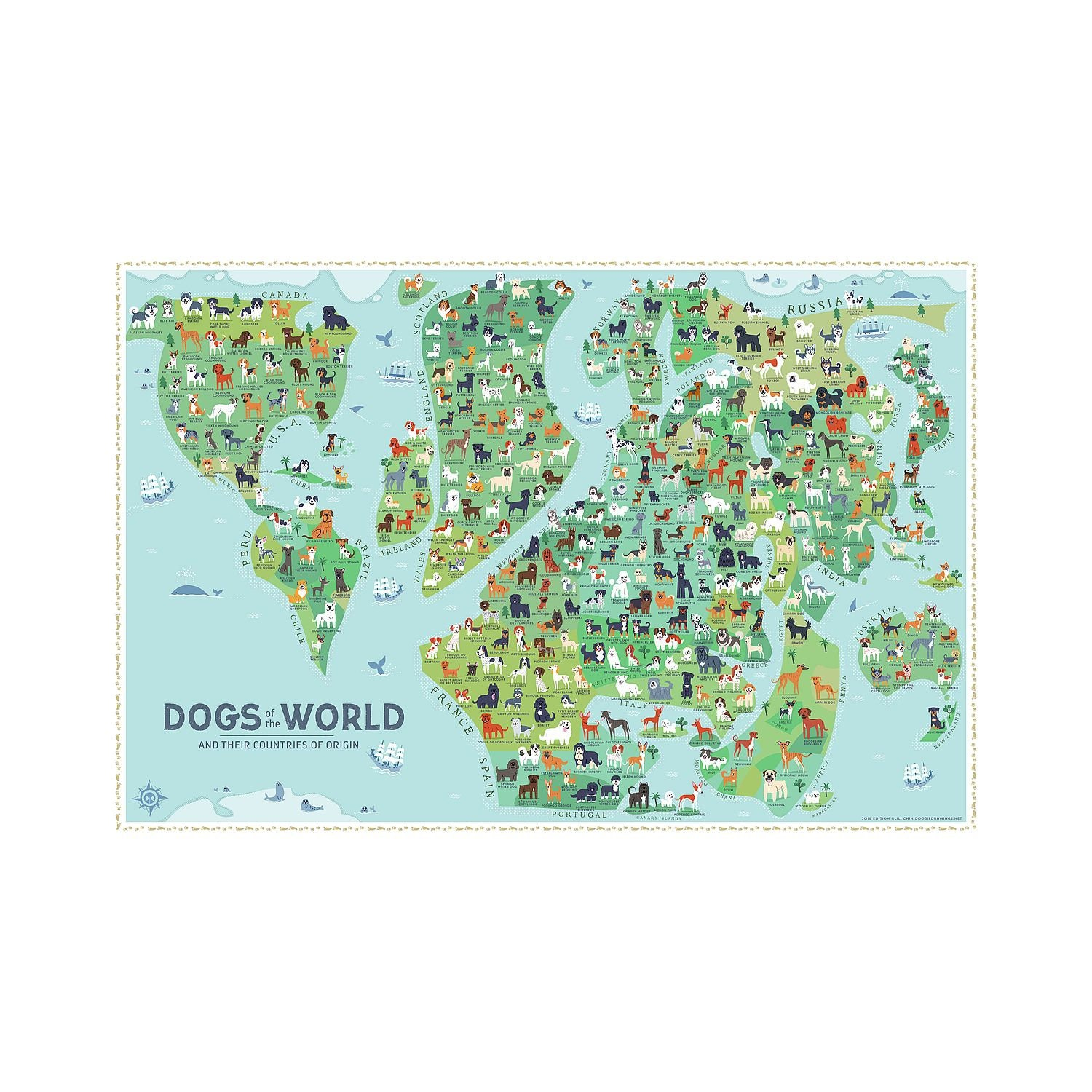 Dogs Of The World Map 36x24 Poster New Paper Etsy