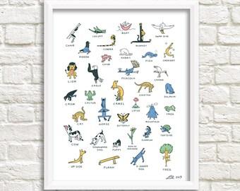 Everybody Yoga! art print (Yoga poses)
