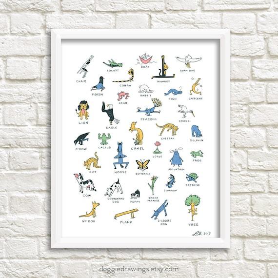 Everybody Yoga Art Print Yoga Poses Etsy