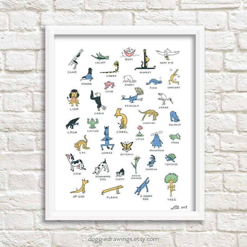 Everybody Yoga art print Yoga poses image 0
