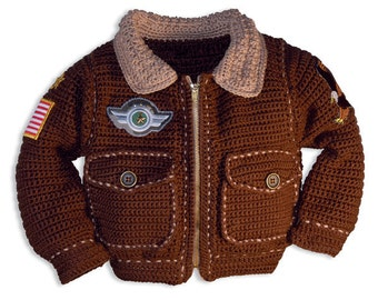 Baby Crochet Patterns, Bomber Jacket Crochet Pattern, Baby Boy Crochet Pattern, Military Jacket