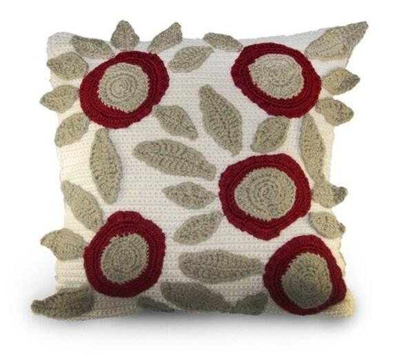 Crochet Pillow Patterns With Modern Flowers Crochet Throw Etsy