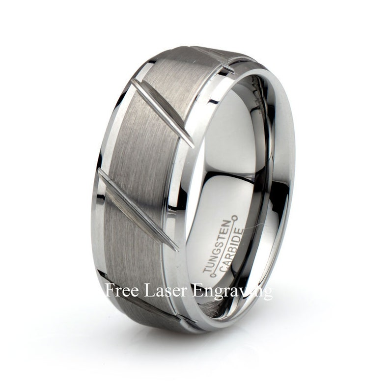 Tungsten Wedding Band Silver Ring Mens Wedding Band 9mm Engagement Ring Brushed Silver Tungsten Carbide Anniversary Polished Stepped Edges