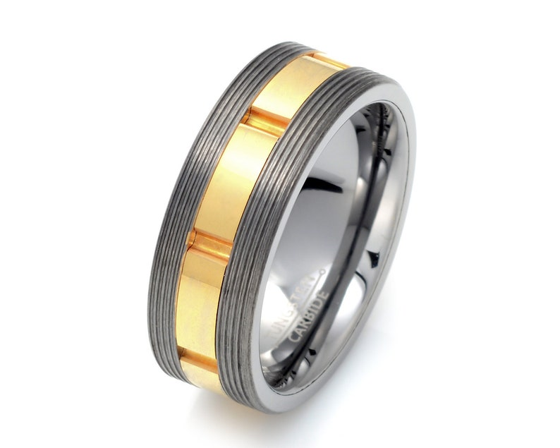 Wedding Band Men.Mens Wedding Band Tungsten Wedding Ring Two Tone Mens Ring Grooved Mens Ring Mens Tungsten Ring Yellow Tungsten Wedding Band Mens Ring