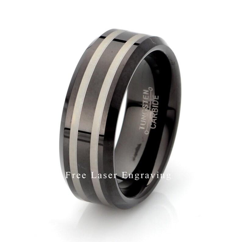 Tungsten Band Black Tungsten Ring Mens Wedding Ring Mens Wedding Band 8mm Wedding Band Mens Ring Tungsten Carbide Wedding Ring