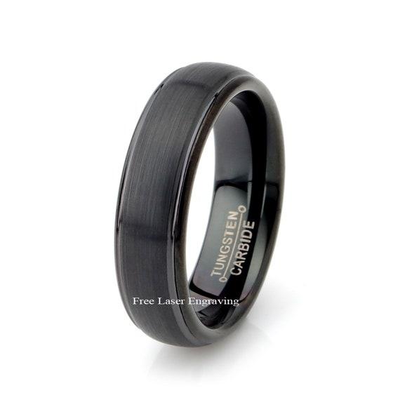 Tungsten Ring Two Tone Matt /& Polished Wedding Band 6mm