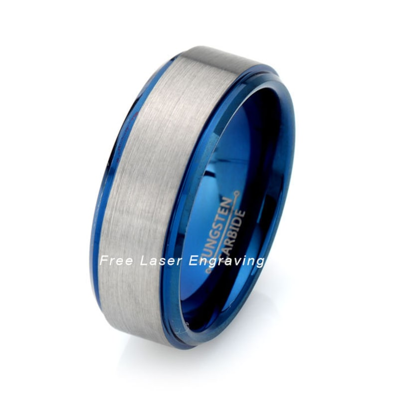 Two Tone Tungsten Wedding Band Mens Tungsten Carbide Ring Etsy