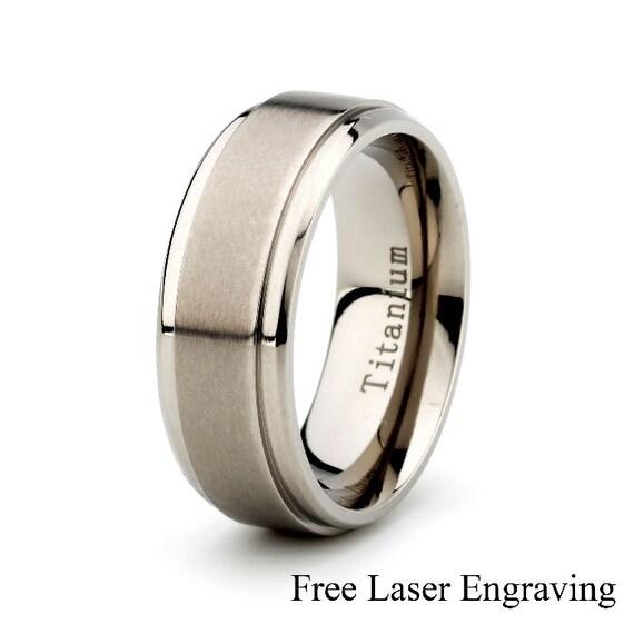 Titanium Wedding Band Mens Wedding Ring Brushed Wedding Etsy