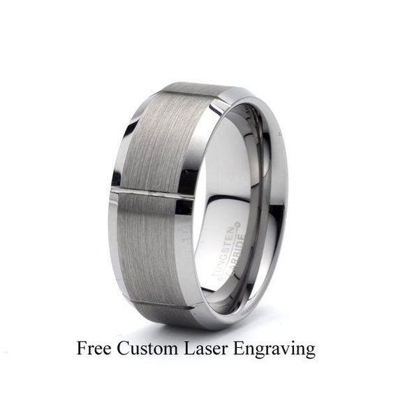 Titanium Notched /& Grooved 8mm Satin Wedding Band Fine Jewelry Ideal Gifts For Women