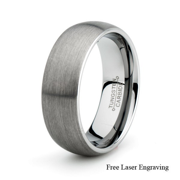 Cobalt 8mm Laser Engraved Cross Band Ring