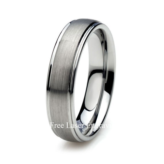 Los Angeles Jewelry Gray Tungsten Wedding Band Men S Etsy