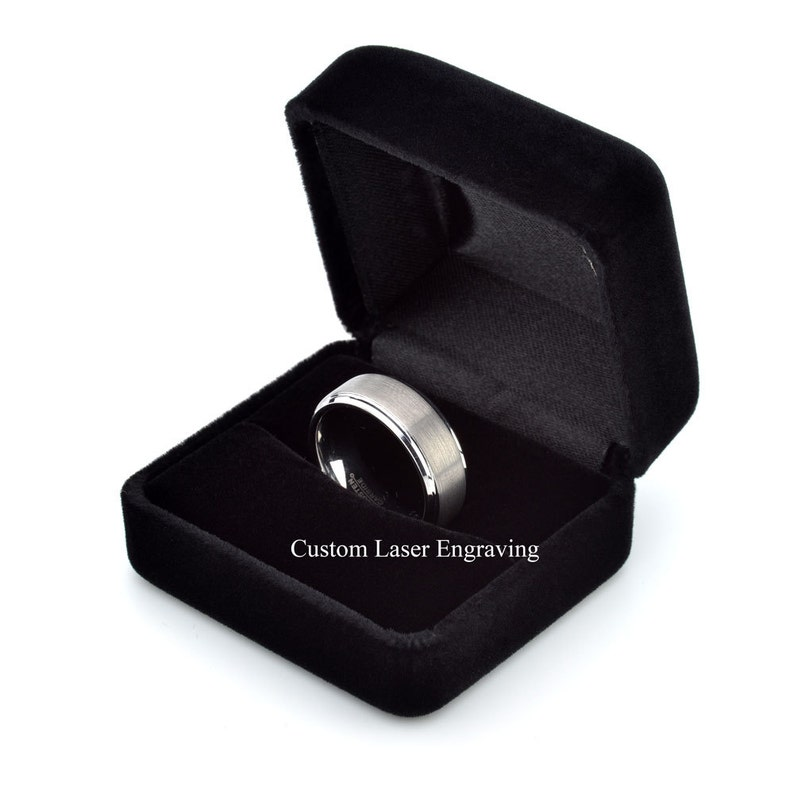 Carbon Ring Tungsten Ring Anniversary Ring Personalized 6mm Tungsten Ring Mens Wedding Ring Tungsten Band Polished Beveled Edge