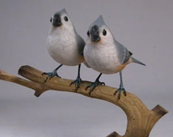 Tufted Titmouse Pair #1 Hand Carved and Hand Painted Wooden bird