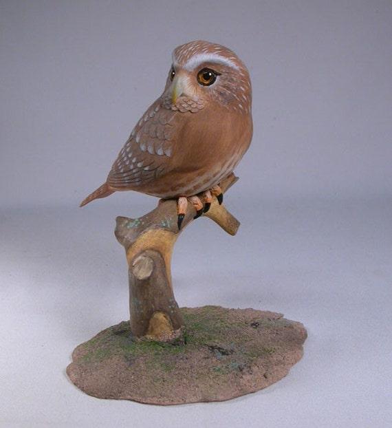 5-7/8 inch Ferruginous Pygmy Owl Hand Carved Wooden Bird