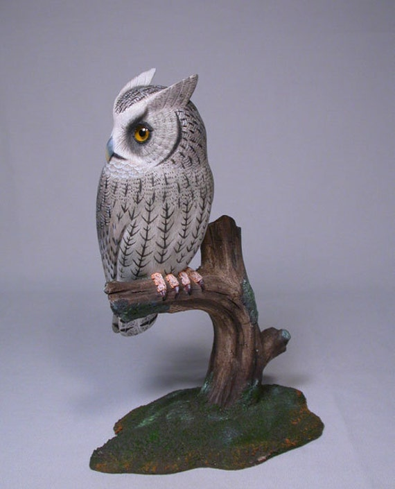 Whiskered Screech Owl Hand Carved Wooden Bird