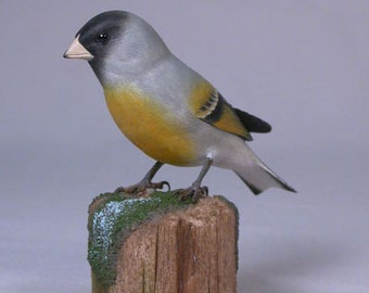 Lawrence's Goldfinch Hand Carved Wooden Songbird