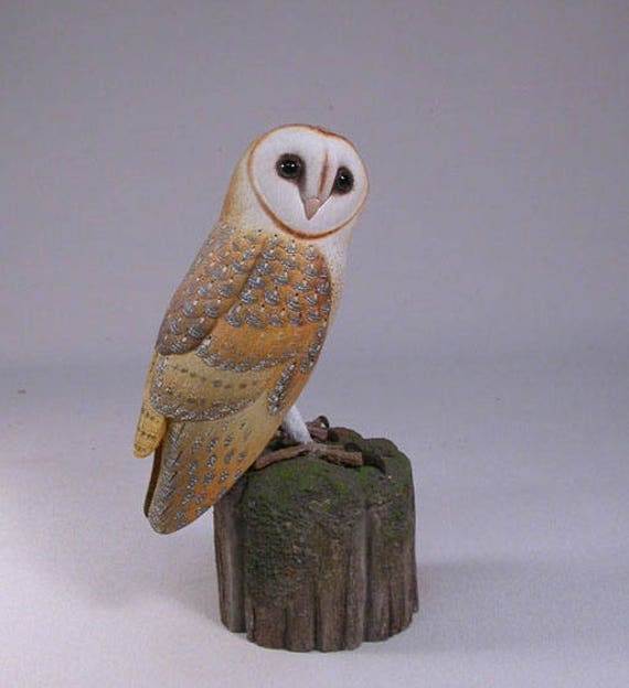 5.5 inch Barn Owl Hand Carved Wooden Bird Carving