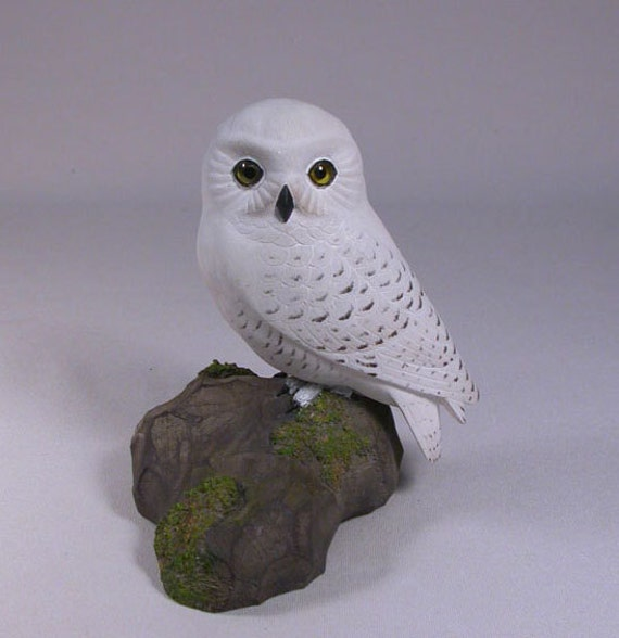 5 inch Snowy Owl Hand Carved Wooden Bird