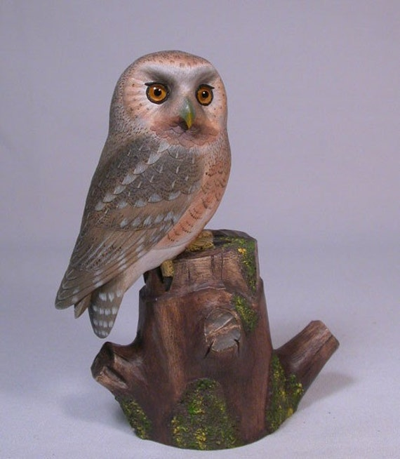 Elf Owl Hand Carved and Hand Painted Bird Owl