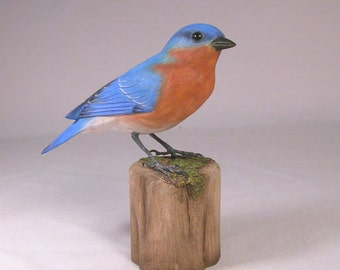 Eastern Bluebird Male Hand Carved Wooden Bird