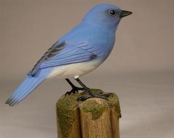Mountain Bluebird Male Wooden carved Bird