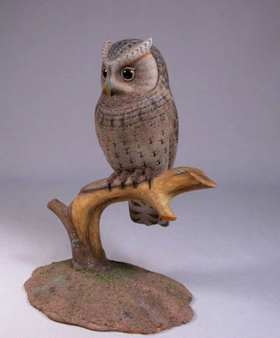 Flammulated Owl Hand Carved Wooden Bird