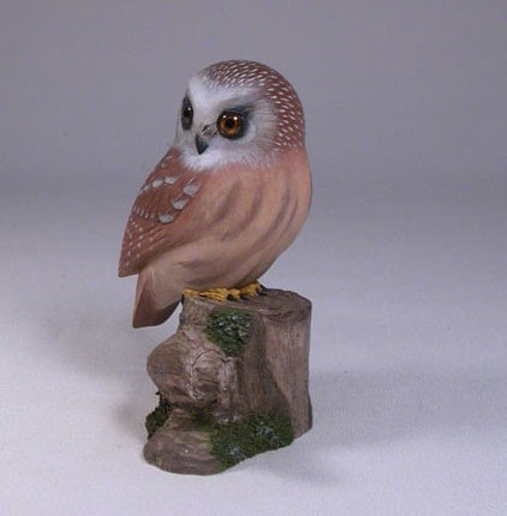 Saw-whet Owl Wood Carving