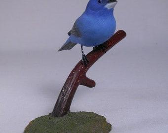 Indigo Bunting on branch Hand Carved Wooden Bird