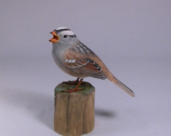 White-crowned Sparrow Hand Carved Wooden Songbird