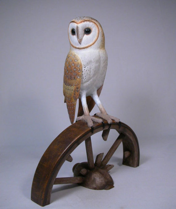 10 inches Barn Owl Hand Carved Wooden Bird Carving