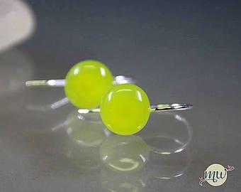 Glass Lampwork Earrings, Juicy Green, Silver Hook, handforged, Minimalist, Statement handmade artist Manuela Wutschke