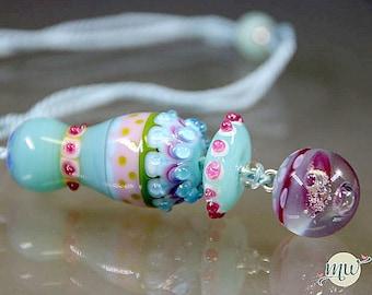 Lampwork Glass Bead - Pendant - Artist - Handmade - Manuela Wutschke - SRA - Gift for Her - Murano - Blue - Pink - Multicolor - Winter