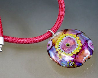 Necklace-Lampwork Glass Bead Pendant on a Silver Pin-Leather Cord-Murano- artist handmade- lentil bead by Manuela Wutschke-pink