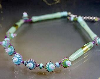 Handmade lampwork glass beads- necklace-artist statement-dot beads-spring green and pink- glass jewelry-sra- Manuela Wutschke