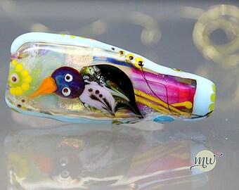 Jungle Stories, lampwork glass bead, focal bead, artist, handcrafted, glass, birds, colorful, artist Manuela Wutschke