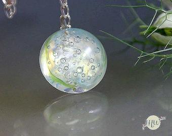 Lampwork Glass Bead - Pendant - Artist - Handmade - Manuela Wutschke - SRA - Gift for Her - Muranoglass - light green - airbubbles - silver
