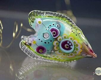 Made from Murano glass, lampwork glass bead, focal bead, artist, handcrafted, glass,heart, summer, colorful, artist Manuela Wutschke